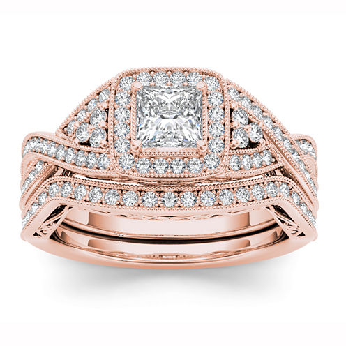 14K Rose Gold 1 1/5 CT White Diamond Set