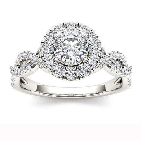Womens Round White Diamond 14K Gold