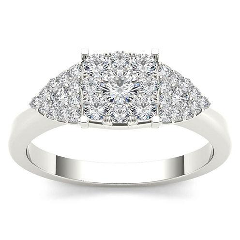 Womens 1/2 CT. T.W. Round White Diamond 10K Gold Engagement Ring