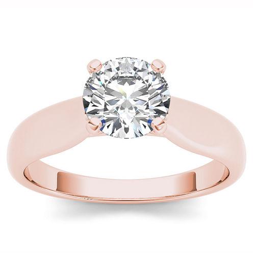 Womens 3/4 CT. T.W. Round White Diamond 14K Gold Solitaire Ring