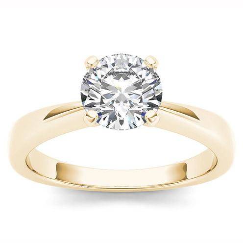 Womens 1 CT. T.W. Round White Diamond 14K Gold Solitaire Ring
