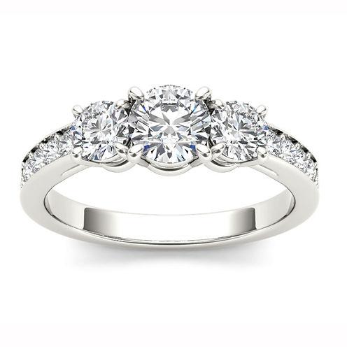 1 1/2 CT. T.W. Round White Diamond 14K Gold 3-Stone Ring