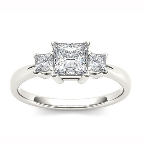 1 1/4 CT. T.W. Princess White Diamond 14K Gold 3-Stone Ring