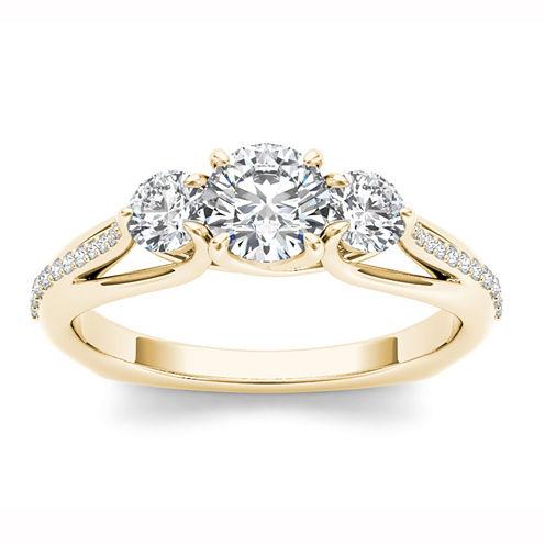 Womens 1 1/2 CT. T.W. Round White Diamond 14K Gold 3-Stone Ring