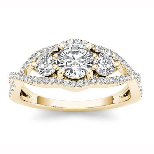 Womens 1 CT. T.W. Round White Diamond 14K Gold 3-Stone Ring