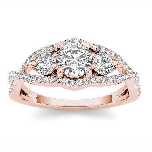 Womens 1 CT. T.W. Genuine Round White Diamond 14K Gold 3-Stone Ring
