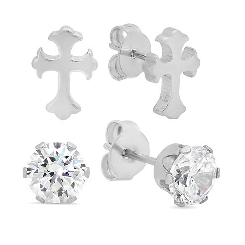 Round White Cubic Zirconia Stainless Steel Stud Earrings