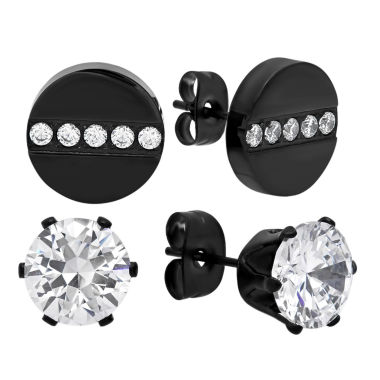 jcpenney.com | Round White Cubic Zirconia Stainless Steel Stud Earrings