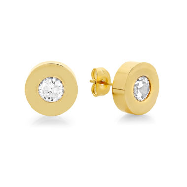 jcpenney.com | Round White Crystal 18K Stainless Steel Stud Earrings