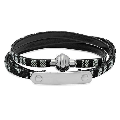Mens White Stainless Steel Id Bracelet