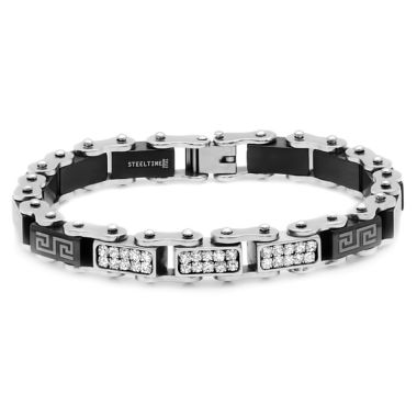 jcpenney.com | Mens 8 Inch White Cubic Zirconia Stainless Steel Link Bracelet
