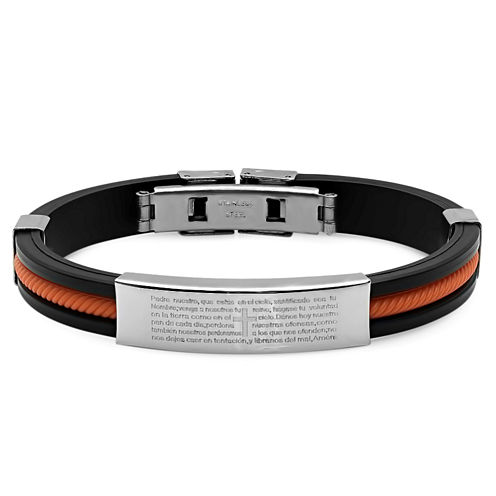 Mens Stainless Steel Spanish Lord's Prayer ID Bracelet