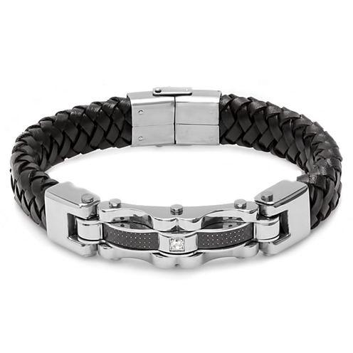 Mens White Cubic Zirconia Stainless Steel Wrap Bracelet