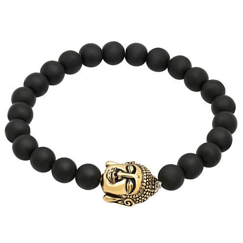 Mens Black Lava Beaded 18K Gold Plated Stainless Steel Bracelet