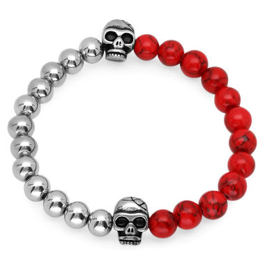 jcpenney.com | Mens Red Coral Stainless Steel Beaded Bracelet