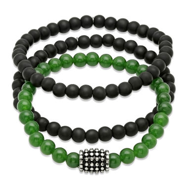 jcpenney.com | Mens Black Lava and Simulated Jade Beaded Stainless Steel Bracelet Set of 3