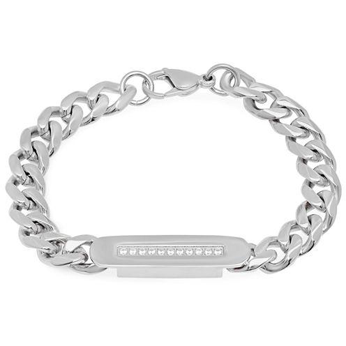 Mens Cubic Zirconia Stainless Steel Id Bracelet
