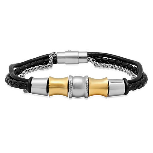 Mens 18K Stainless Steel Wrap Bracelet