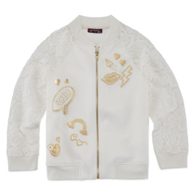 jcpenney.com | TEMPTED GIRLS LACE SLEEVE IVORY ZIP UP JACKET
