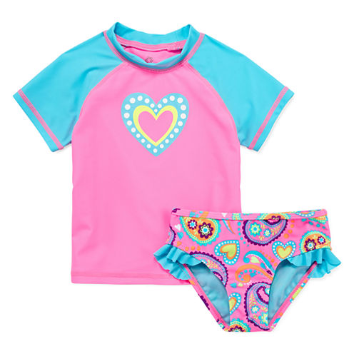 Okie Dokie Pattern Rash Guard Set - Toddler