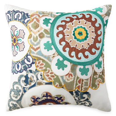 Jcpenney Red Decorative Pillows : JCPenney Home Belcourt Embroidered Square Decorative Pillow - JCPenney