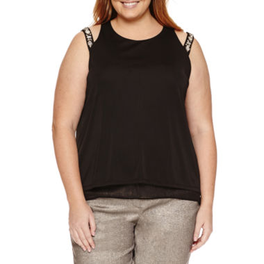 jcpenney.com | Worthington® Sleeveless Cut Out Embellished Double Layer Tank - Plus