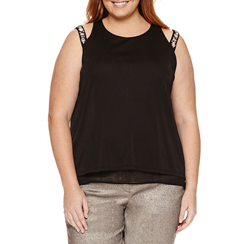 Worthington® Sleeveless Cut Out Embellished Double Layer Tank - Plus