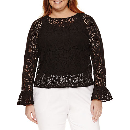 Worthington® Long Sleeve Lace Blouse - Plus