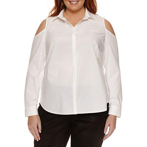 Worthington® Long Sleeve Cold Shoulder Button Front Shirt - Plus