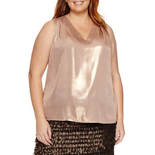 Worthington® Sleeveless Foil Twist Blouse - Plus