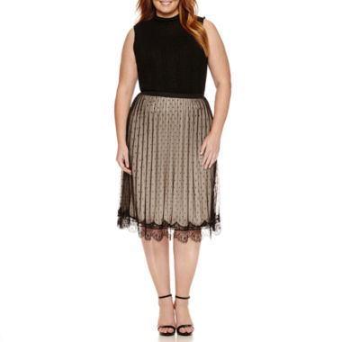 jcpenney.com | SLEEVELESS MOCK NECK SWEATER, LACE TRIMMED PLEATED MIDI SKIRT
