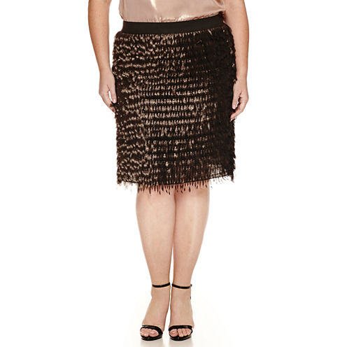 Worthington® Elastic Waistband Fringe Skirt - Plus