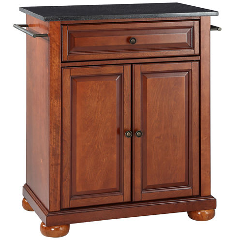 Caldwell Small Black-Granite-Top Portable Kitchen Island