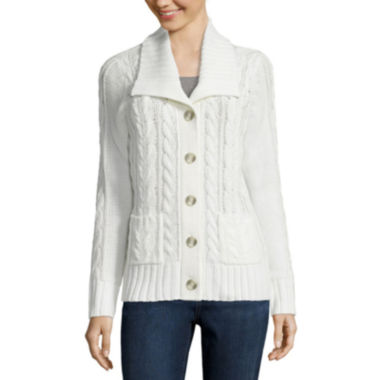 jcpenney.com | St. John's Bay® Long-Sleeve Cable-Knit Cardigan
