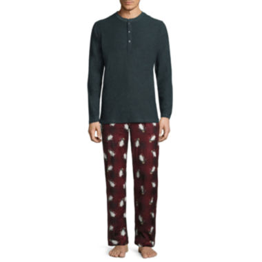 jcpenney.com | Stafford® 2-pc. Microfleece Pants and Long-Sleeve Henley T-Shirt Gift Set