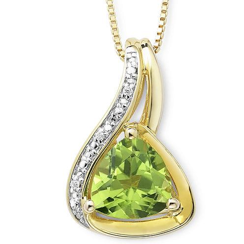14K Gold-Plated Silver Trillion Peridot & Diamond-Accent Pendant Necklace