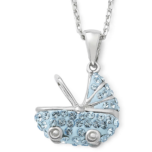 Sterling Silver Blue Crystal Baby Carriage Pendant Necklace
