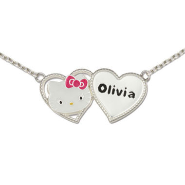 jcpenney.com | Hello Kitty® Personalized Girls Sterling Silver and Enamel Two Heart Necklace