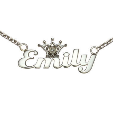 jcpenney.com | Disney Personalized Girls Diamond-Accent Tiara Sterling Silver Name Necklace
