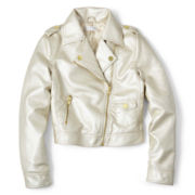 Sally M™ Sally Miller Metallic Faux Leather Moto Jacket - Girls 6-16