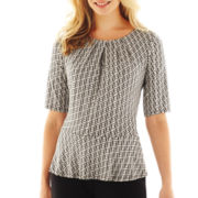 Liz Claiborne Elbow-Sleeve Peplum Top