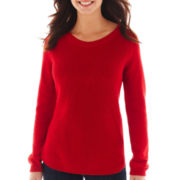 Liz Claiborne Long-Sleeve Shaker-Stitch Sweater