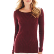 Liz Claiborne Long-Sleeve Plaited Sweater - Tall