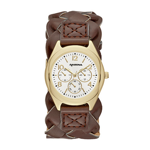 Arizona Womens Brown Strap Watch-Fmdarz140