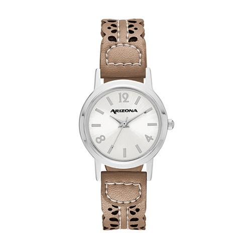 Arizona Womens Brown Strap Watch-Fmdarz145