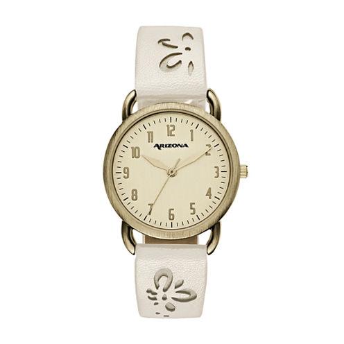 Arizona Womens White Strap Watch-Fmdarz151