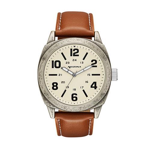 Arizona Mens Brown Strap Watch-Fmdarz535