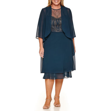 jcpenney.com | Maya Brooke 3/4 Sleeve Jacket Dress-Plus