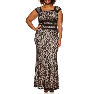 jcpenney.com | Melrose Cap Sleeve Lace Evening Gown-Plus
