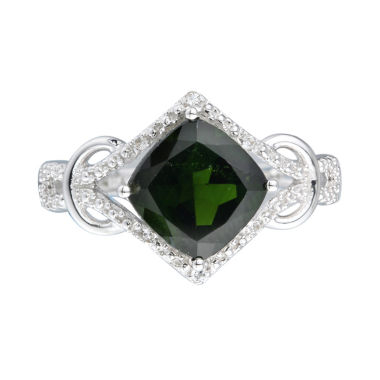 jcpenney.com | Womens Green Chrome Diopside Sterling Silver Halo Ring